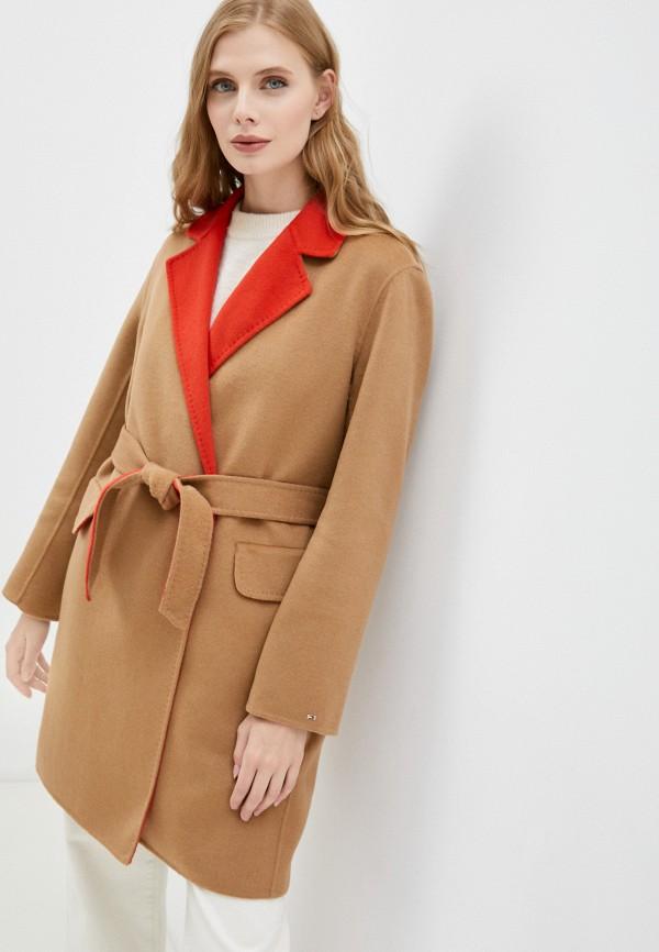 Пальто Tommy Hilfiger коричневого цвета