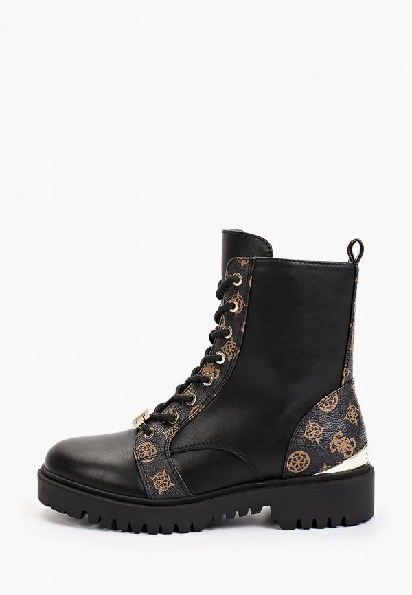 женские высокие ботинки guess, черные