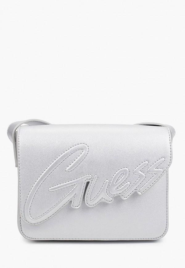 сумка guess для девочки, серебряная