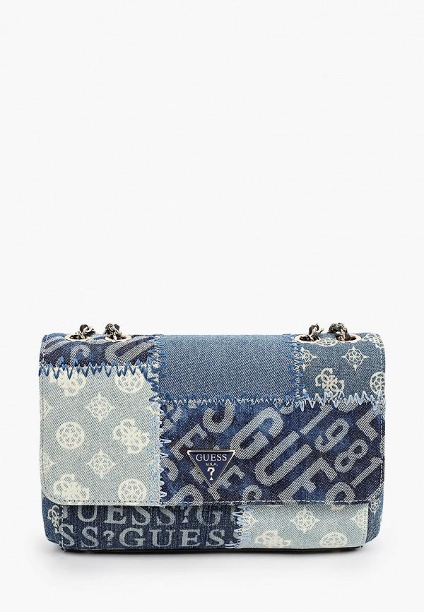 женская сумка с ручками guess, синяя