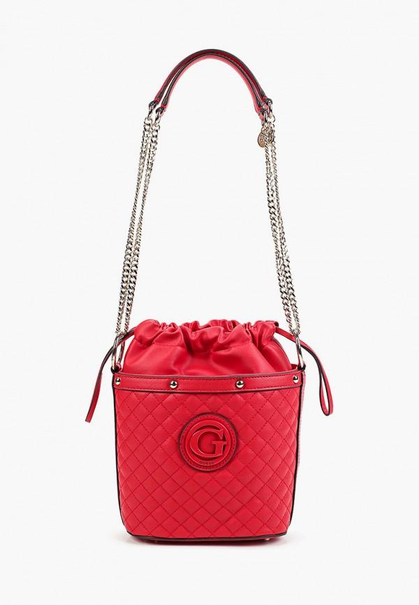 женская сумка через плечо guess, красная
