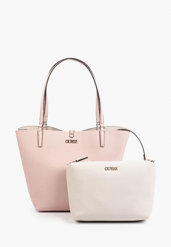 женская сумка-шоперы guess, розовая