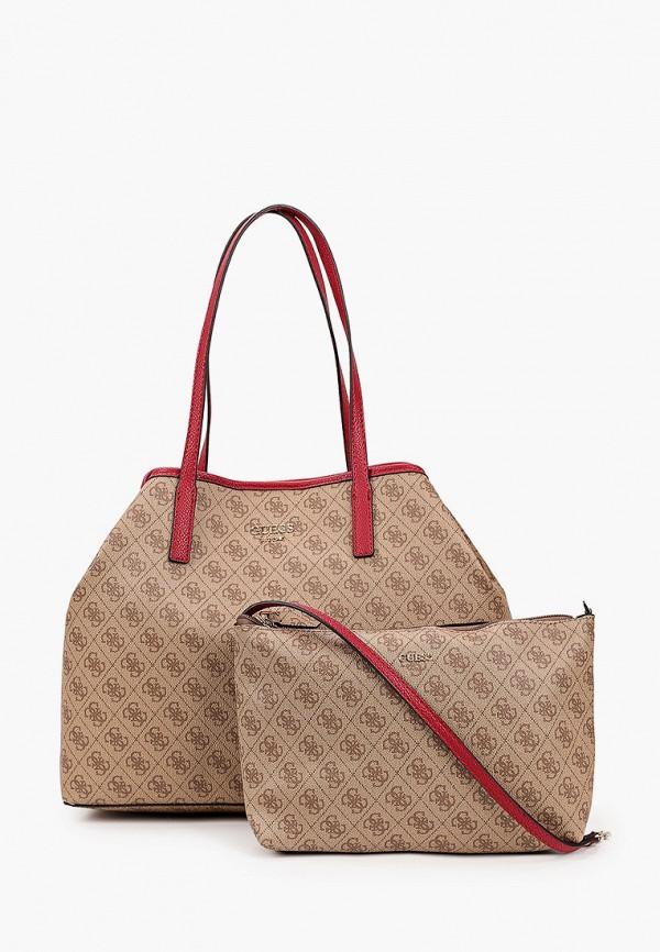 женская сумка-шоперы guess, коричневая