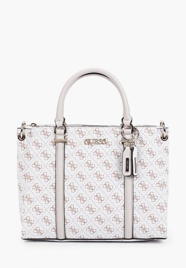 женская сумка с ручками guess, белая