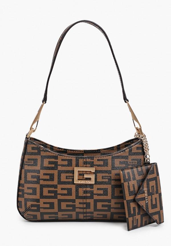 женский кошелёк через плечо guess, коричневый