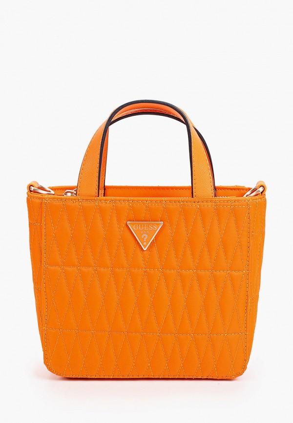 женская сумка с ручками guess, оранжевая