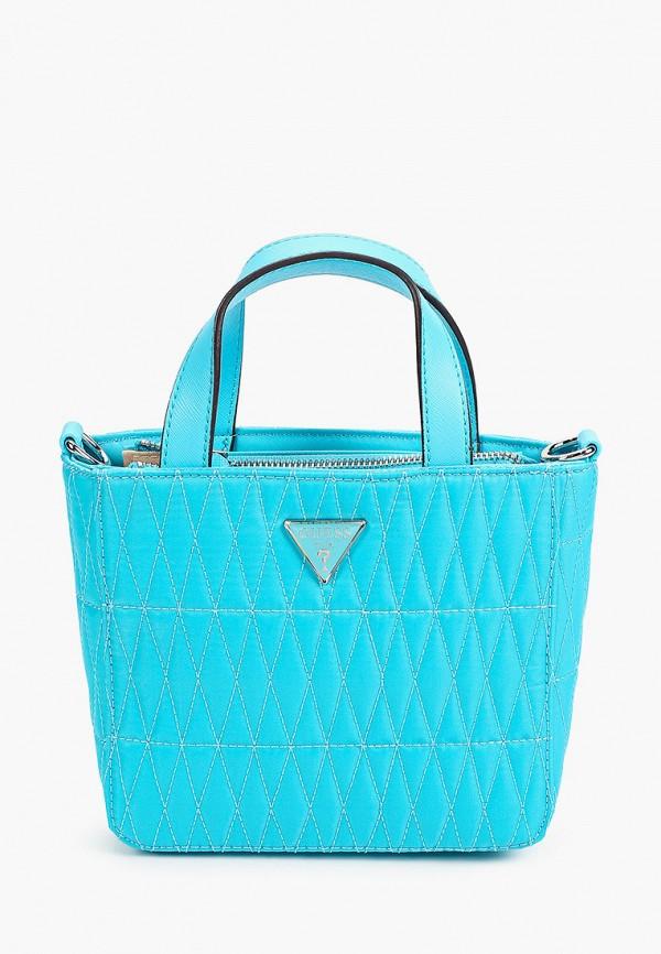 женская сумка с ручками guess, голубая