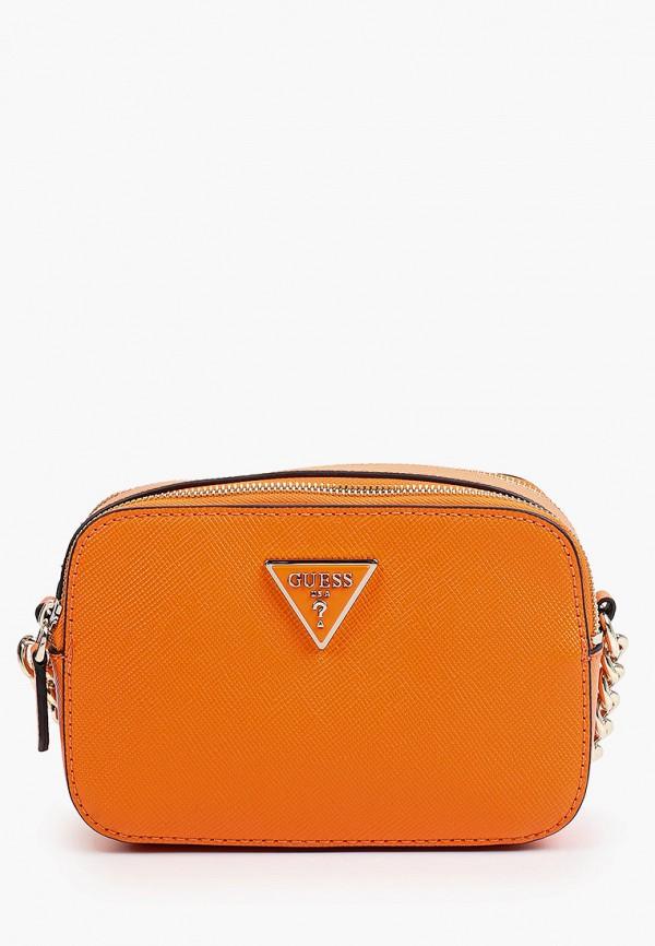 женская сумка через плечо guess, оранжевая