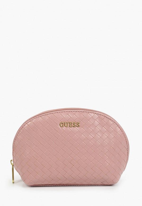 женская косметичка guess, розовая