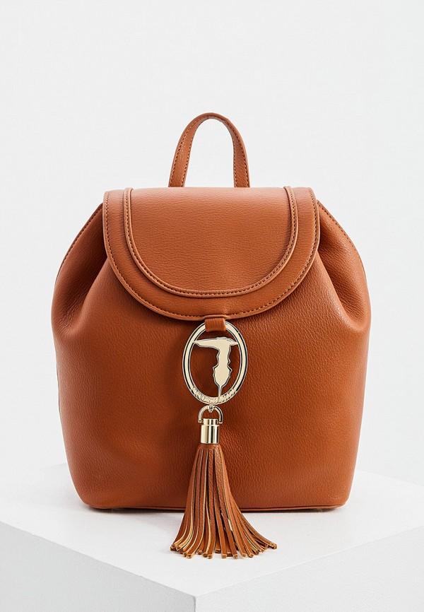 женский рюкзак trussardi, коричневый