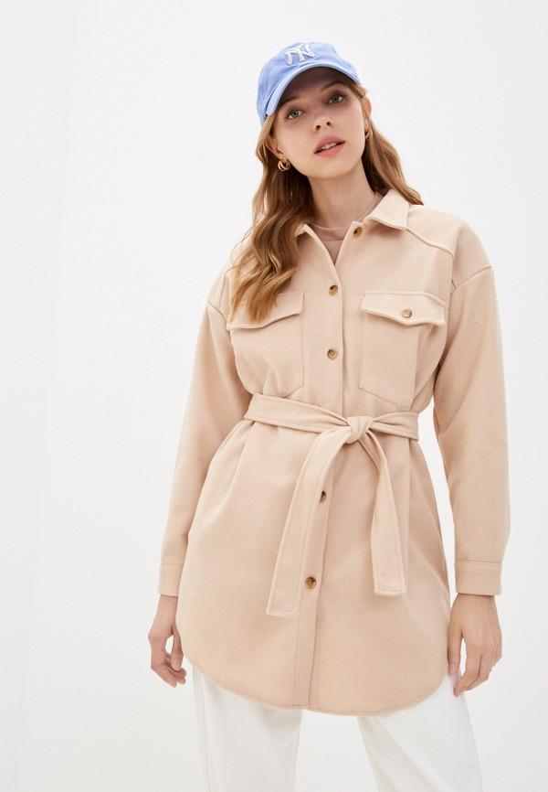 женское пальто elsi, бежевое