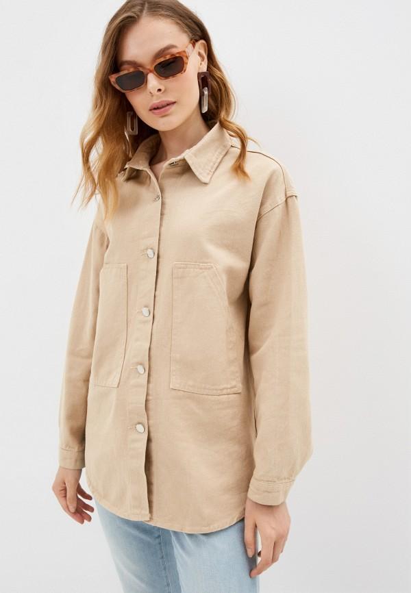 женская джинсовые куртка elsi, бежевая
