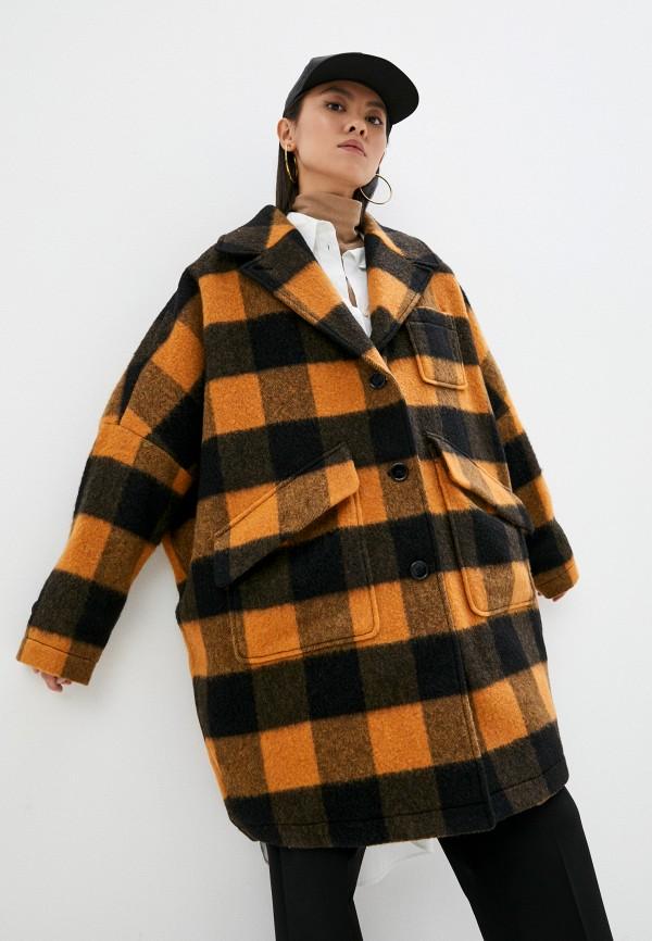 женское пальто mm6 maison margiela, оранжевое
