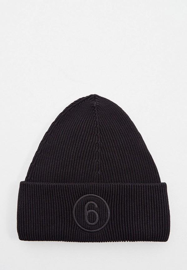женская шапка mm6 maison margiela, черная