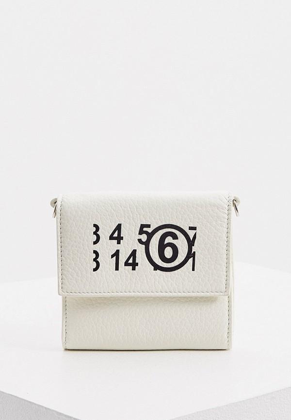 женская сумка через плечо mm6 maison margiela, белая