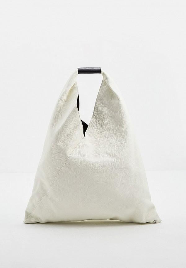 женская сумка-шоперы mm6 maison margiela, белая
