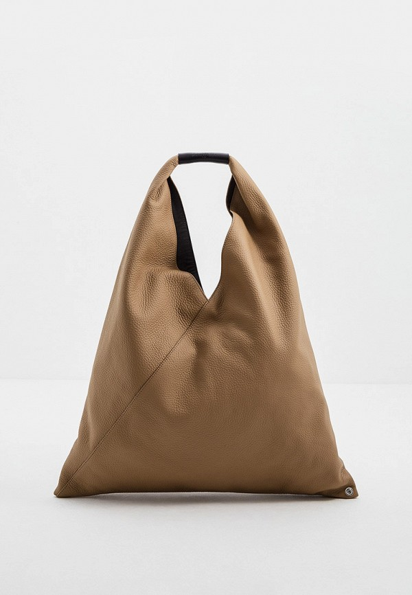 женская сумка-шоперы mm6 maison margiela, бежевая