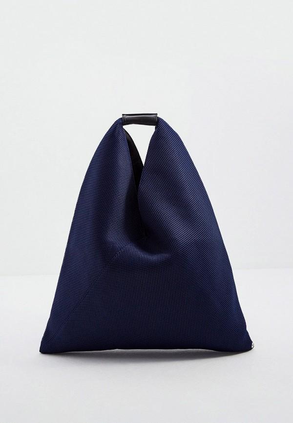женская сумка-шоперы mm6 maison margiela, синяя