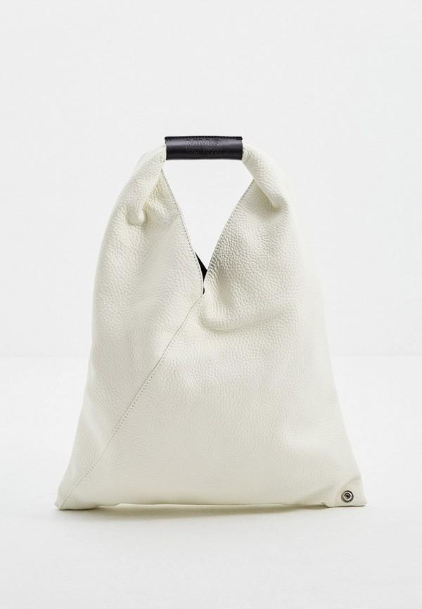 женская сумка с ручками mm6 maison margiela, белая