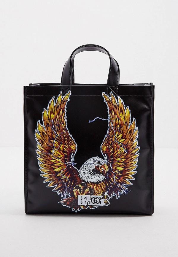 женская сумка с ручками mm6 maison margiela, черная