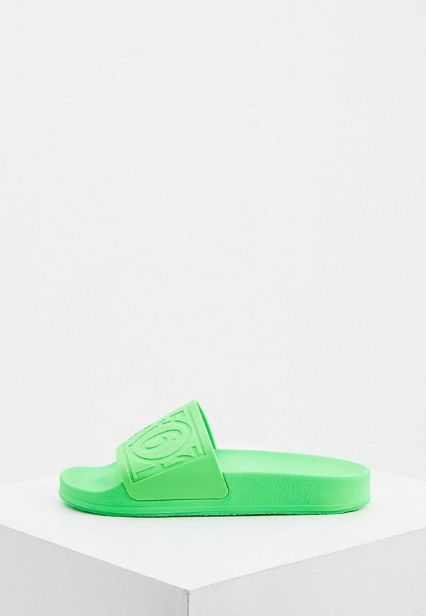 женские сланцы mm6 maison margiela, зеленые