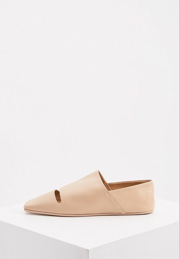женские туфли с закрытым носом mm6 maison margiela, бежевые