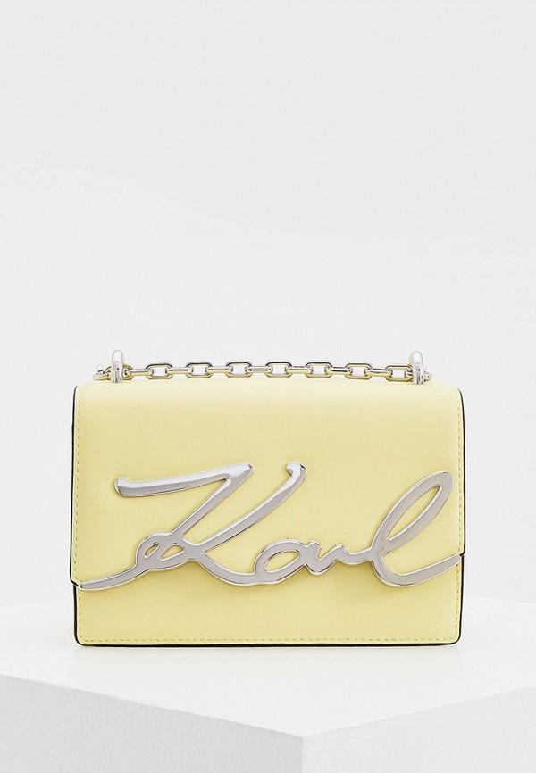 женская сумка через плечо karl lagerfeld, желтая