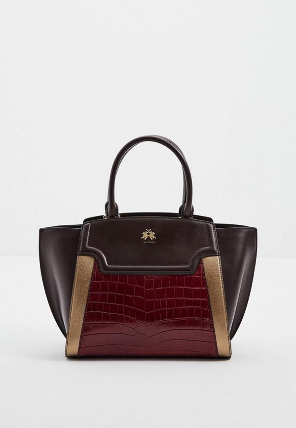 женская сумка с ручками la martina, коричневая