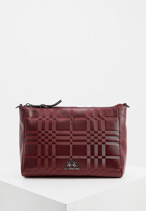 женская сумка через плечо la martina, бордовая