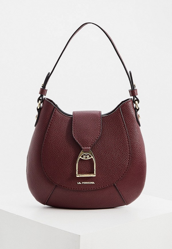 женская сумка с ручками la martina, бордовая