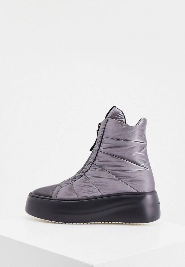 женские высокие ботинки vic matie, серебряные