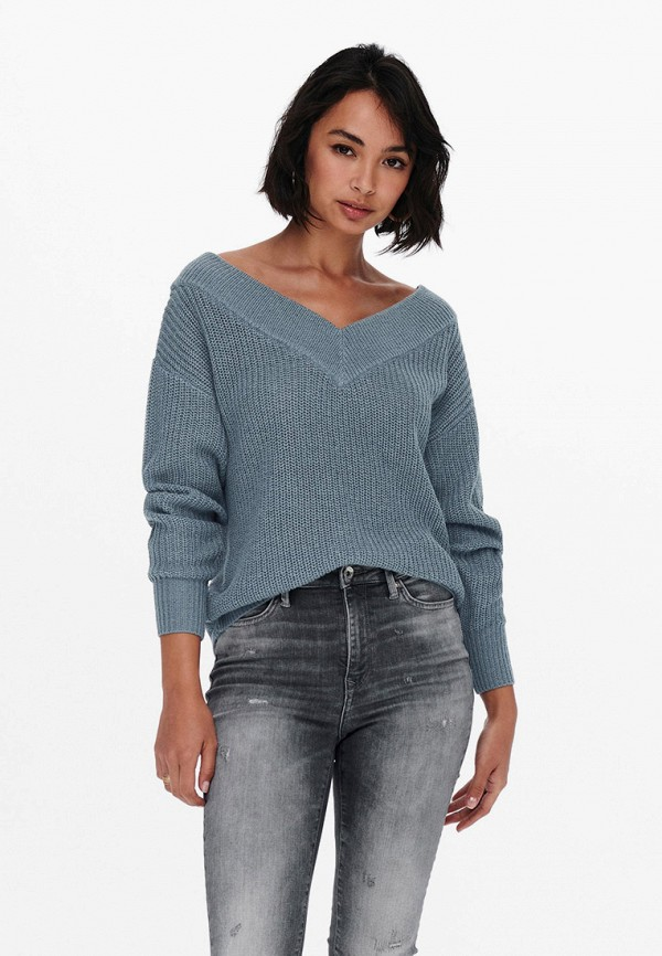 женский пуловер only, бирюзовый