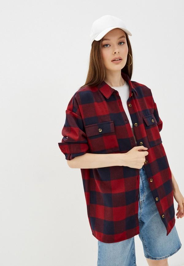 женская рубашка с длинным рукавом noisy may, красная
