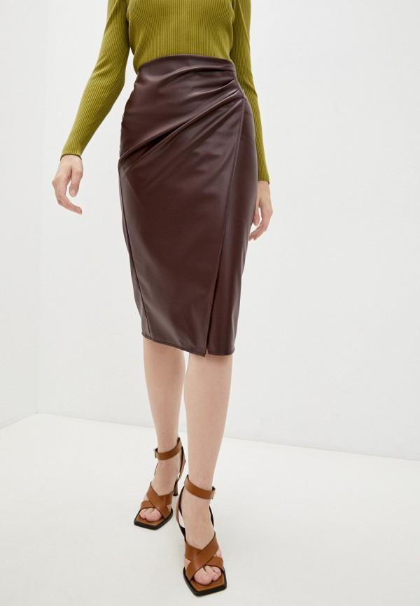 женская кожаные юбка pennyblack, бордовая
