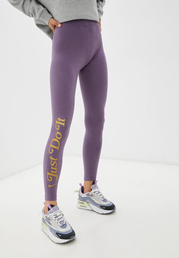 женские спортивные леггинсы nike, фиолетовые