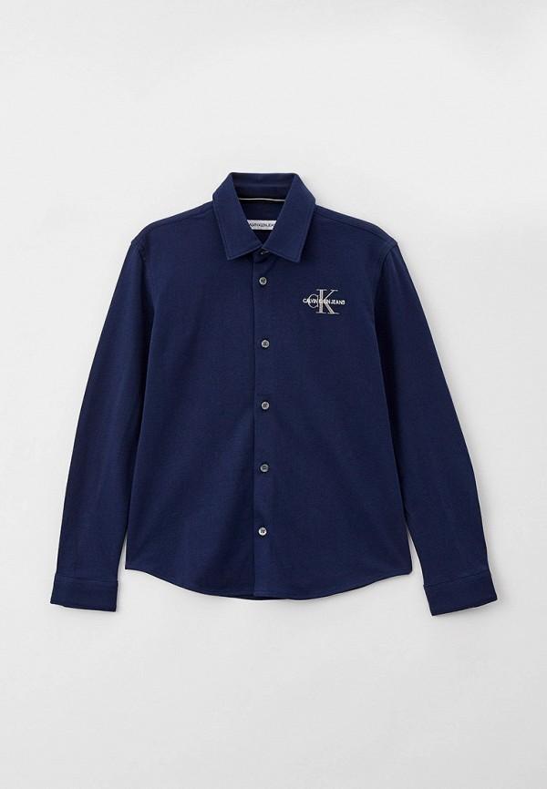 рубашка calvin klein для мальчика, синяя