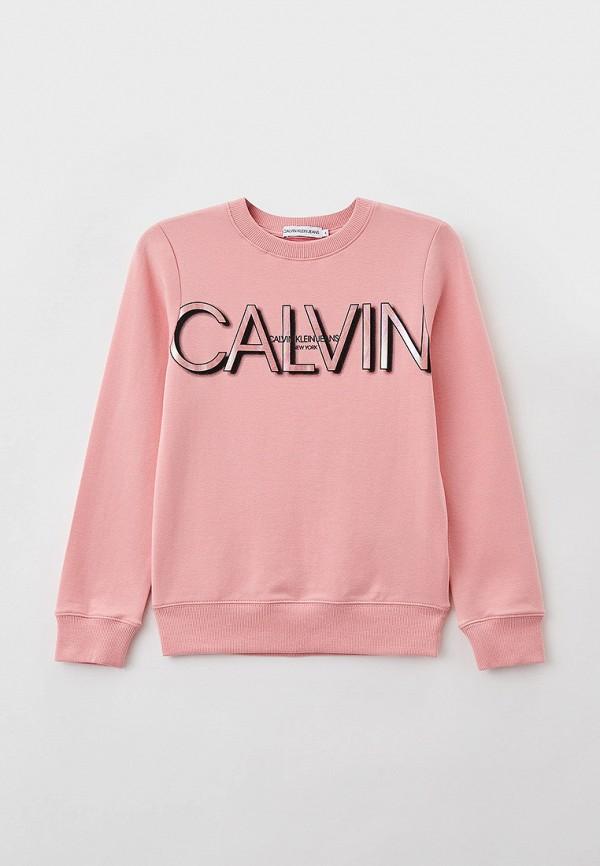 свитшот calvin klein для девочки, розовый