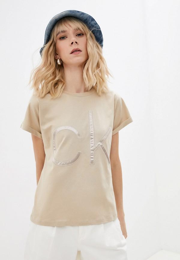 женская футболка calvin klein, бежевая