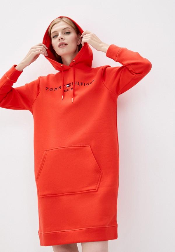 женское платье-толстовки tommy hilfiger, красное