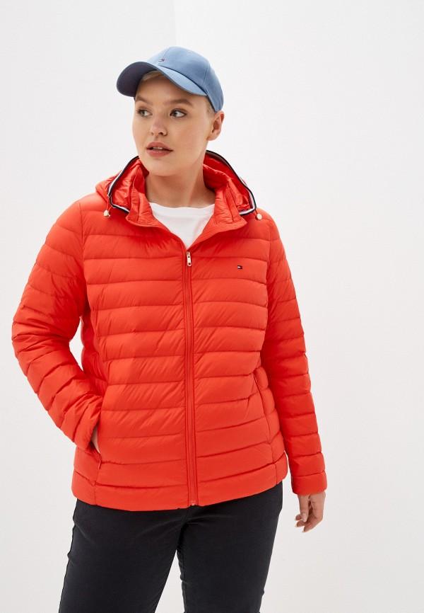 женский пуховик tommy hilfiger, оранжевый