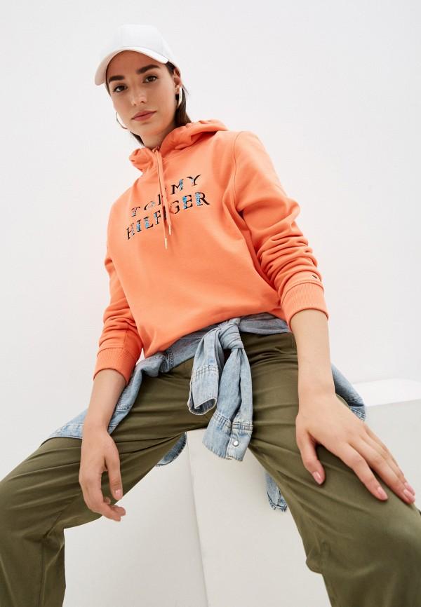 женские худи tommy hilfiger, оранжевые