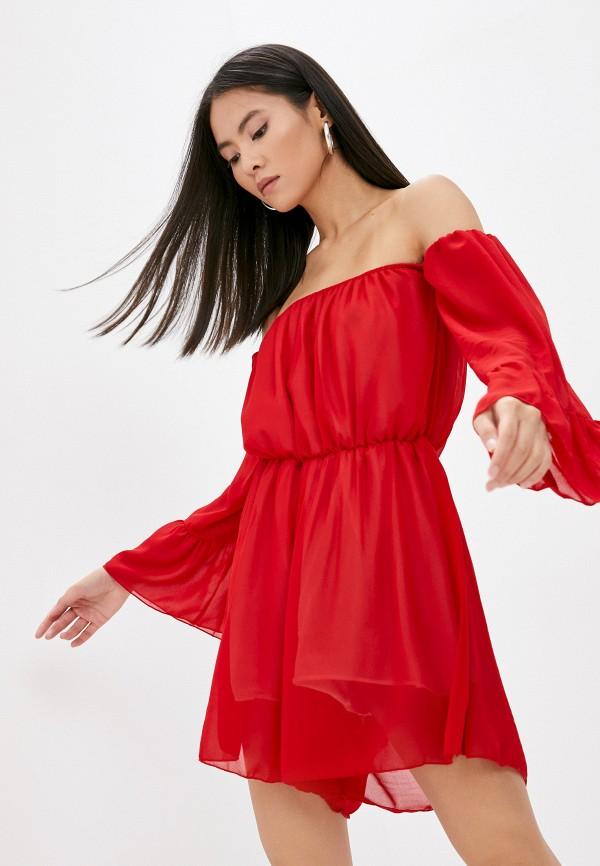 женский комбинезон с шортами pink summer, красный