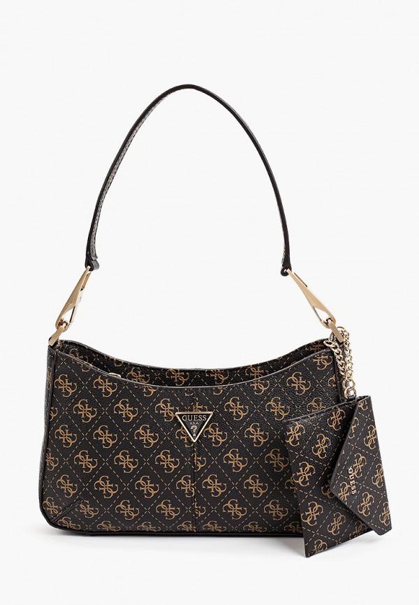 женский кошелёк с ручками guess, коричневый