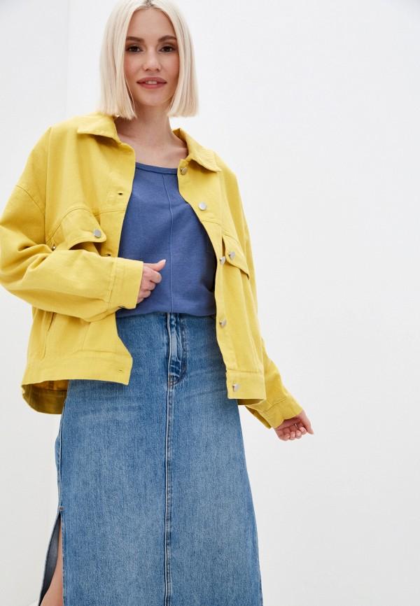 женская джинсовые куртка fragarika, желтая