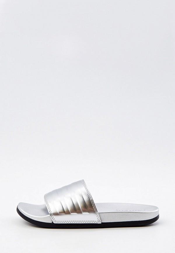 женские сланцы adidas, серебряные