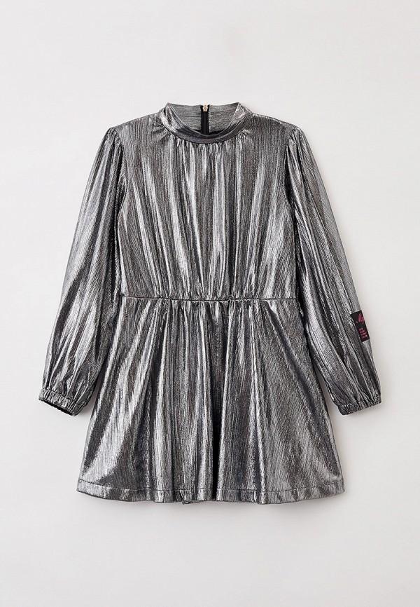 Платье MSGM Kids серебрянного цвета