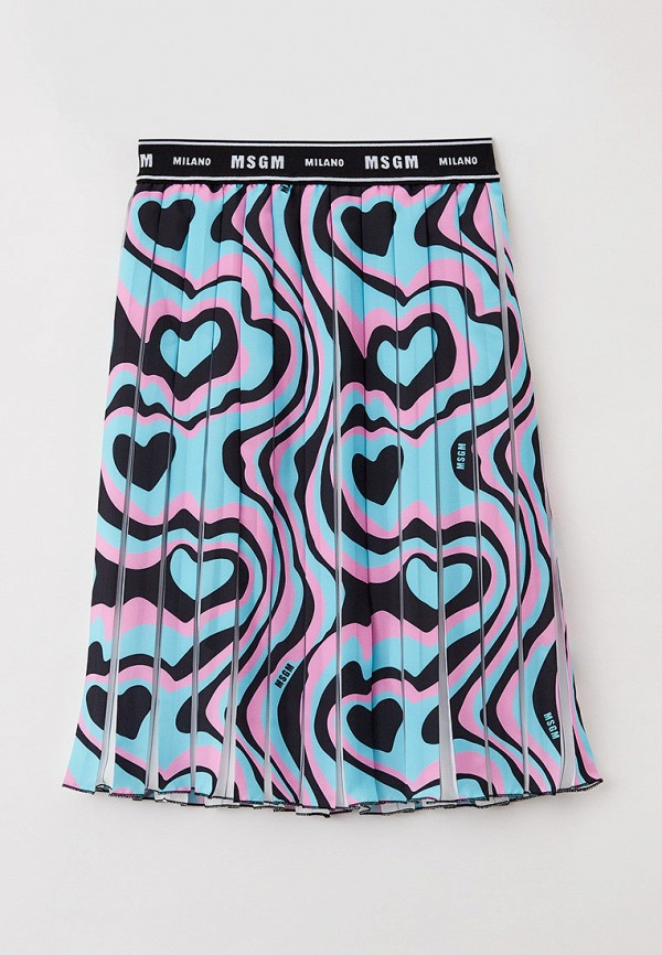юбка msgm kids для девочки, бирюзовая