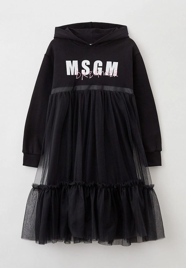 Платье MSGM Kids черного цвета