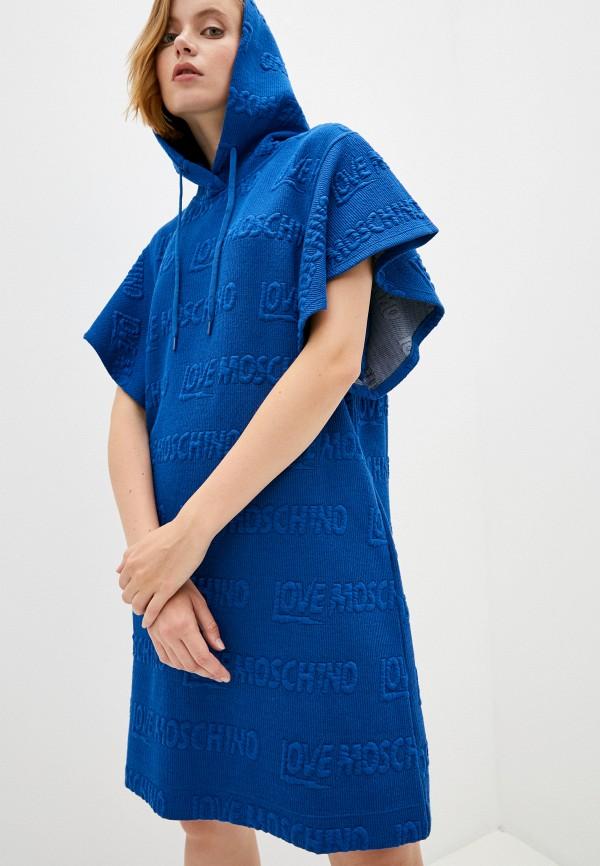 женское платье-толстовки love moschino, бирюзовое