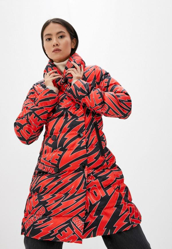 женская утепленные куртка love moschino, красная
